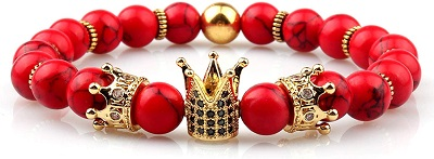 GVUSMIL Imperial Crown Bead Bracelet King&Queen Luxury Charm Couple Jewelry Xmas Gift for Women
