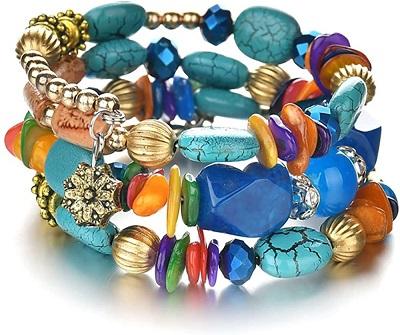 MIXIA Boho Multilayer Irregular Agate Beads Charm Bracelets for Women Vintage Jade Stone Bracelets Yoga Bangles Ethnic Jewelry
