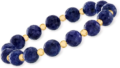 Ross-Simons 90.00 ct. t.w. Sapphire Bead Stretch Bracelet With 14kt Yellow Gold. 7 inches