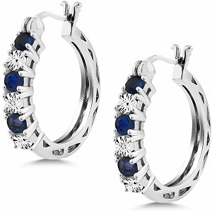 Sterling Silver Blue Sapphire and White Diamond Accent Women's Hoop Earrings