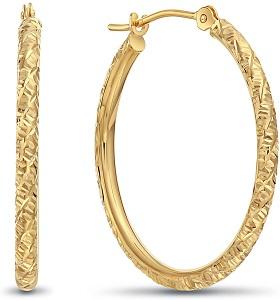 14k Gold Hand Engraved Diamond-cut Round Hoop Earrings