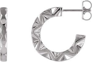 Platinum Geometric Hoop Earrings