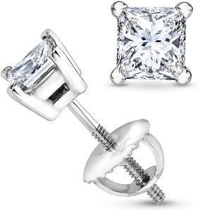 Carat Total Weight Princess Diamond Stud Earrings 4 Prong Screw