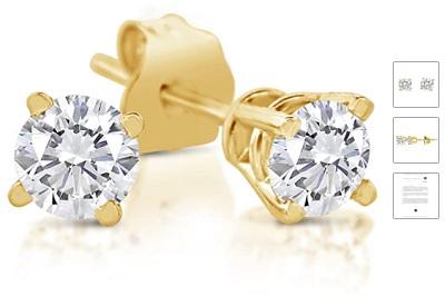 1/4ct tw Diamond Stud Earrings in 14k White Gold or Yellow Gold (J-K, I2-I3)