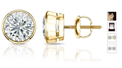 1/4 to 2 Carat Diamond Round Stud Earrings in 14k Yellow or White Gold (H-I, I2-I3, cttw) Bezel Set Screw Back