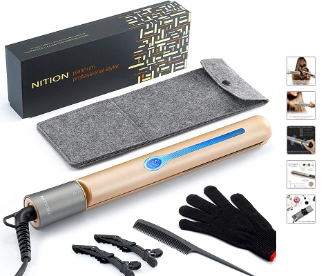 NITION Professional Salon Hair Straightener Argan Oil Tourmaline Ceramic Titanium Straightening Flat Iron for Healthy Styling