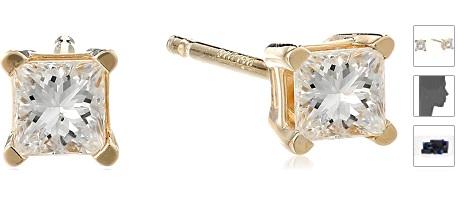 14k Yellow Gold Princess Diamond Studs (I-J Color, I1-I2 Clarity)