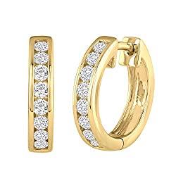 hannel Diamond Hoop Earrings in 10K Gold