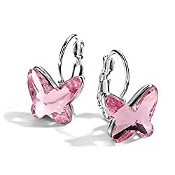 Pink Crystal Butterfly Lever Back Earrings Birthday Gift