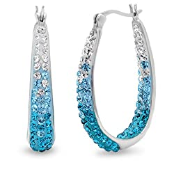 Sterling Silver Blue Ombre Hoop Earrings with Swarovski Crystals