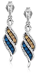 Sterling Silver with Champagne, Blue and White Diamond Accent Flame Dangle Earrings