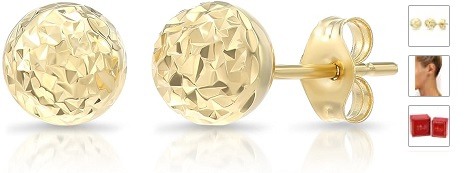 14k Yellow Gold Diamond-cut Ball Stud Earrings