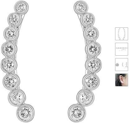 0.60 Carat (ctw) 14K Gold Round White Diamond Ladies Journey Curved Climber Earrings