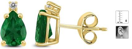 14K Yellow Gold 5x3MM Pear Emerald and Diamond Earrings