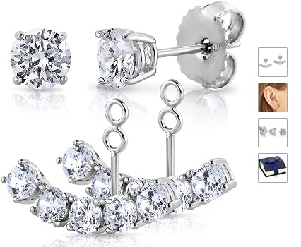 Sterling Silver 925 Front Back 2 in 1 Cubic Zirconia AAA Quality Stud and Ear Jacket Cuff Earrings Set