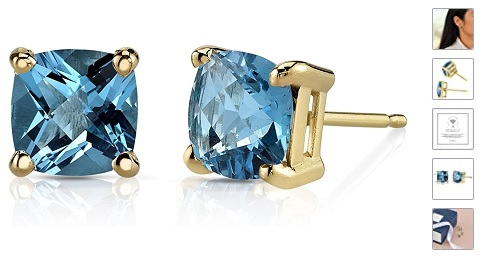 14K Gold Classic Solitaire Stud Earrings, Cushion Cut, 6mm in Genuine or Created Gemstones, Friction Back